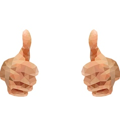 Thumbs up abstract polygon style vector