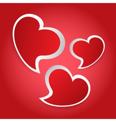 Valentines card - three red hearts vector