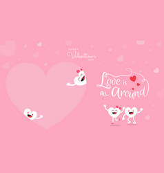 Valentines day background with cute heart cartoon vector