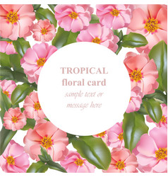 watercolor tropical floral beauty card vector image