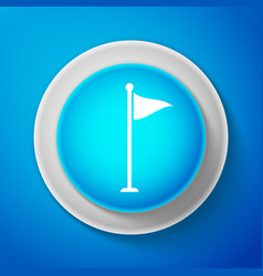 white golf flag icon isolated on blue background vector image