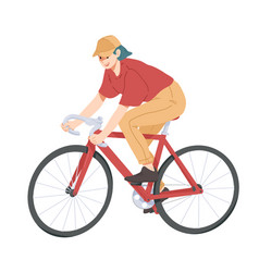 woman riding bicycle girl on bike vector image