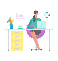 woman working on laptop sitting table office vector image