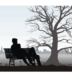 Young man and girl on bench vector
