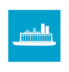 Blue square frame with cargo ship vector