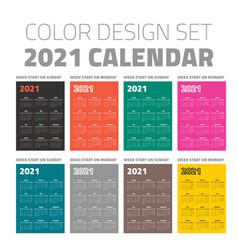 color pocket calendar set 2021 vector image
