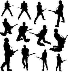 guitarist silhouettes vector image