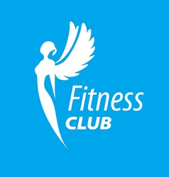 logo girl with wings for fitness vector image vector image