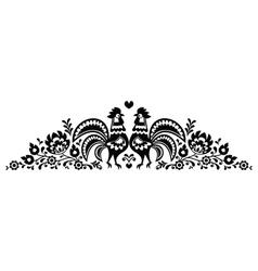 Polish floral folk art long embroidery pattern vector image vector image
