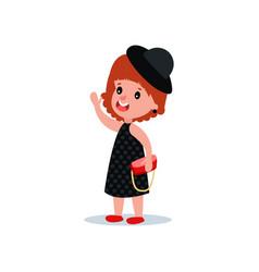 cute fashion girl in black polka-dot dress hat vector image vector image