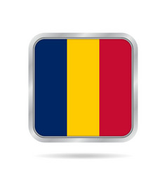flag of chad shiny metallic gray square button vector image vector image