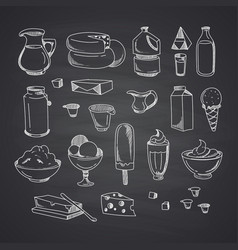 milk or dairy products set hand drawn vector image vector image