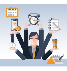 Time management businessman vector image