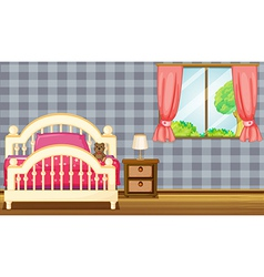 A bed and side table vector image