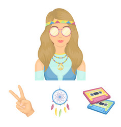 amulet hippie girl freedom sign old cassette vector image vector image