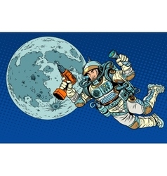 Astronaut with a drill and flashlight on the moon vector