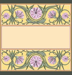 floral frame template art-nouveau style vector image vector image