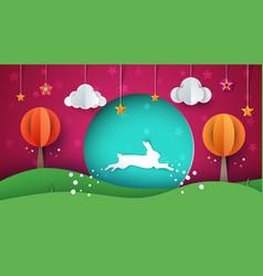 Rabbit cartoon paper landscape vector