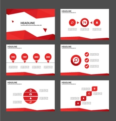 Red polygon presentation templates Infographic set vector image vector image