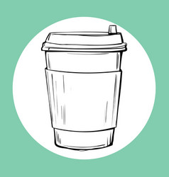 cup of hot drink sketch icon vector image vector image
