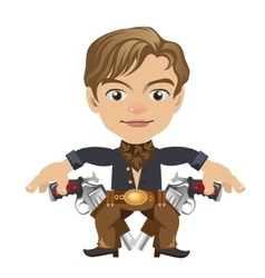 Cute blond man with guns in cartoon style vector image