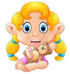 girl holding bear doll vector image