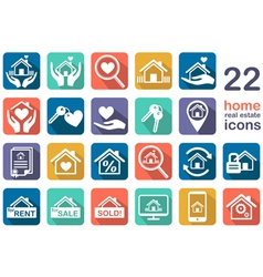 Real estate home icon set vector