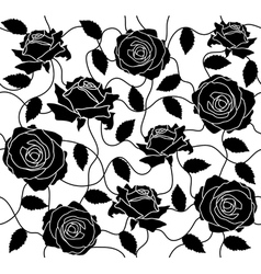 seamless of a black roses and leafs vector image vector image