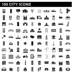 100 city icons set simple style vector