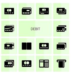 14 debit icons vector
