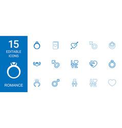 15 romance icons vector