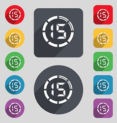 15 second stopwatch icon sign A set of 12 colored vector image
