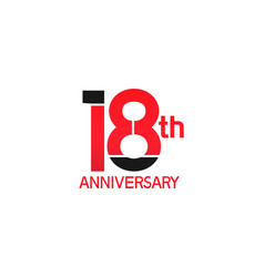 18 years anniversary logotype with black and red vector