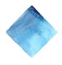 Abstract indigo and aqua blue square watercolor vector
