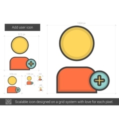 Add user line icon vector