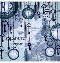 Antique background with map and clocks vector image