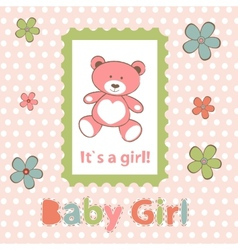 Baby girl arrival announcement card vector image