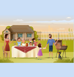 big family holiday dinner or picnic cartoon vector image