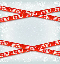 Big sale red banners set warning tapes vector