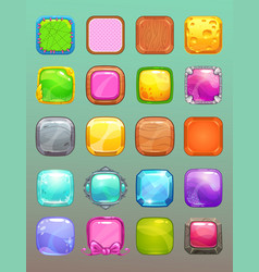Big set of cartoon colorful square buttons vector