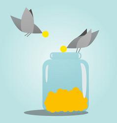 Birds collect grain in a piggy bank vector