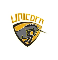 Black Unicorn Horse Head Charging Crest Retro vector