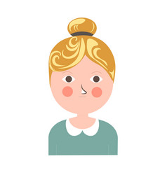 Blonde girl with tuft pink cheeks and small moth vector
