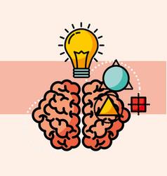 Brain creative idea bulb think vector
