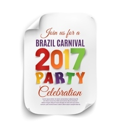 Brazil Carnival 2017 party poster vector image