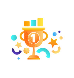 Business success symbol winner cup vector