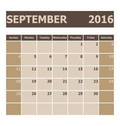 Calendar September 2016 week starts from Sunday vector