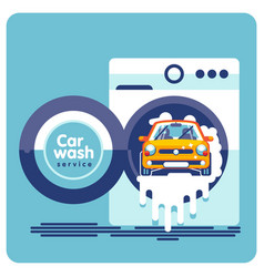 car wash in a drum washing machine vector image