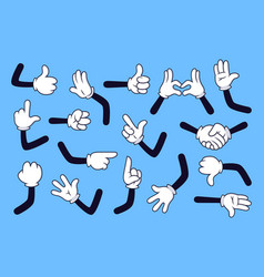 Cartoon arms gloved hands with different gestures vector
