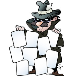 Cartoon of an agent with some good cards vector